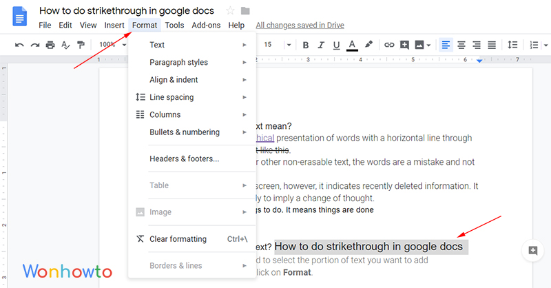 How to do strikethrough in google docs