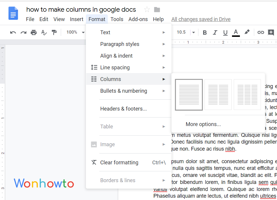 how to make columns in google docs by wonhowto
