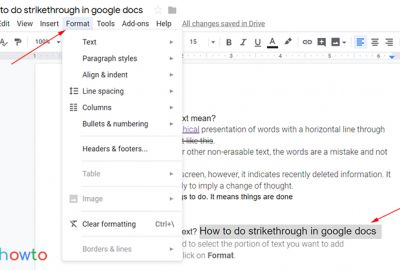 Strikethrough google docs