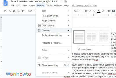 How to make columns in google docs