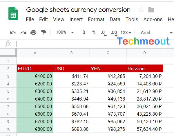 Google sheet currency conversion