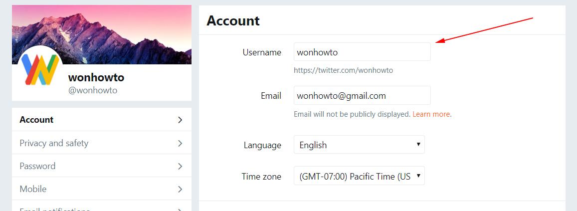 Update username twitter