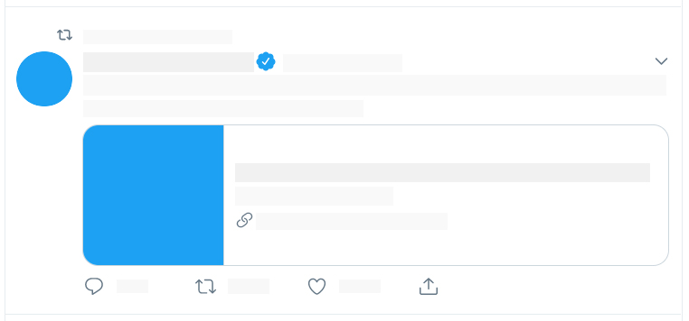 blank tweet template with small thumbnail link