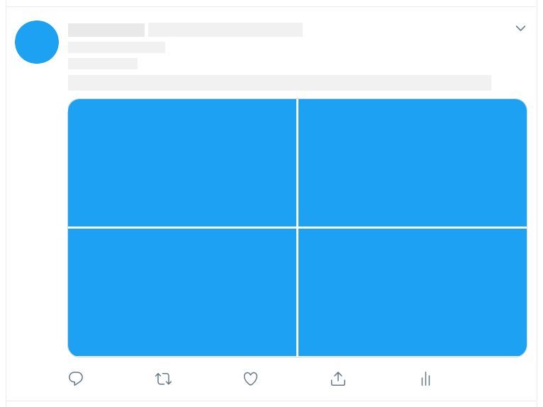 blank tweet template with four image