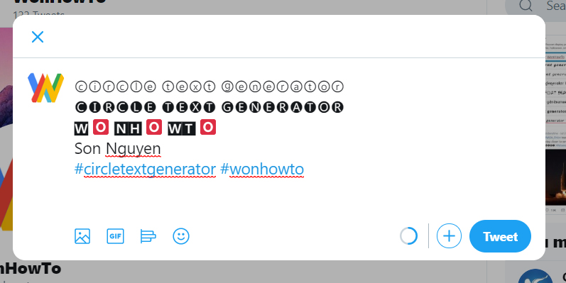 Circle text on twitter