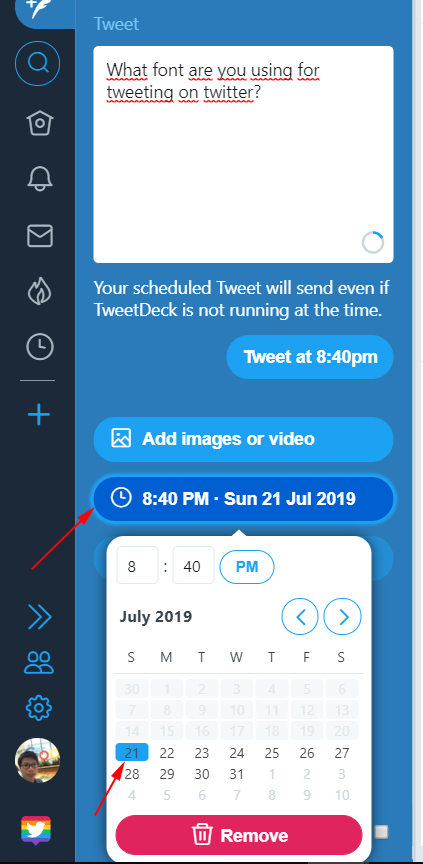 Select the date and time of tweet Tweet at Schedule Tweet