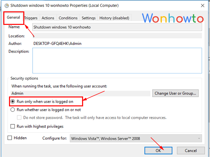 wonhowto Run only when user is logged on