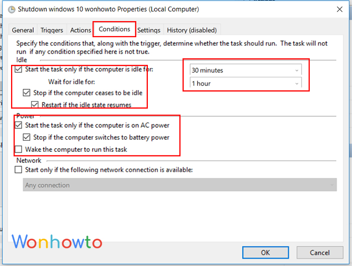 wonhowto schedule a shutdown Conditions