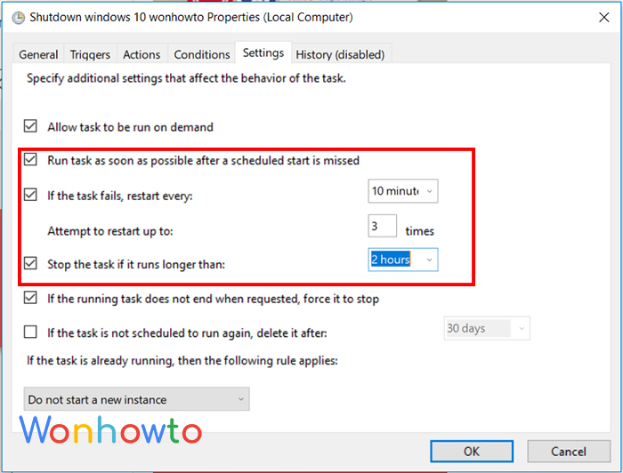 Wonhowto schedule a shutdown Settings