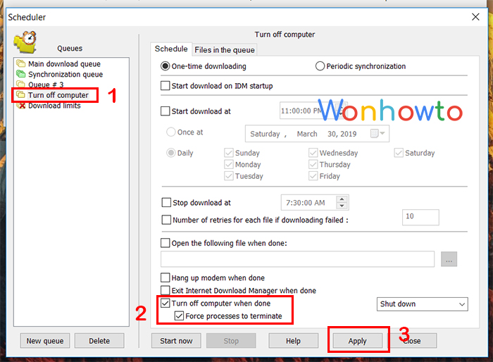 Wonhowto shutdown windows timer by idm