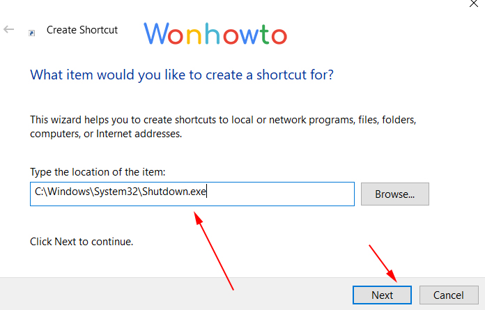 Wonhowto shutdown windows timer shortcut exe