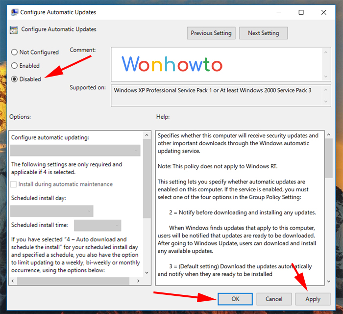 How to turn off Windows updates with Group Pololicy Editor